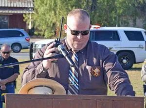 ACSO Major Matthew Miller pauses for a 30-second moment of silence at the beginning of the ceremony. JOE DAVID CORDOVA | PLEASANTON EXPRESS