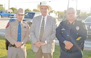 Texas DPS Captain Steven Thayes, Atascosa County Sheriff David Soward and Pleasanton Police Chief Ronald Sanchez. Each gentleman spoke a few words during the memorial representing their law enforcement agencies. JOE DAVID CORDOVA | PEASANTON EXPRESS