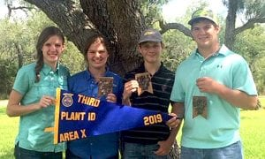 Plant ID Team 3rd Place Team (State Qualifier), Montgomery Cain 6th High Individual, Lacey Stevens 7th High Individual, Ty Hehman 9th High Individual. Pictured are Kayli Kennedy, Lacey Stevens, Montgomery Cain and Ty Hehman. COURTESY PHOTO