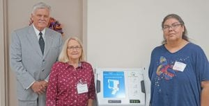 Atascosa County Judge Bob Hurley is pictured with Janice Ruple, Atascosa County Elections Administrator, and Brenda Ochoa, Chief Deputy Voter Registrar, next to the new E-Voting system that is being used in the upcoming Nov. 5 election. NOEL WILKERSON HOLMES | PLEASANTON EXPRESS