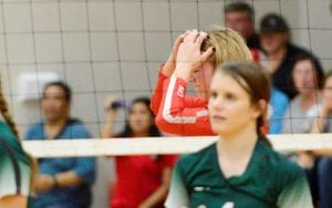 Senior Shyanne Bauerle laments a failed attack against Taft in the first round of the UIL volleyball playoffs. SAM FOWLER | PLEASANTON EXPRESS