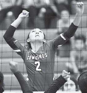McMullen's Brenda Beyer goes up for a kill in the Three Rivers tournament. SAM FOWLER | PLEASANTON EXPRESS