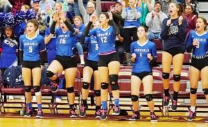 The McMullen County Cowgirls celebrate a point in their win over Medina. J GARCIA | COURTESY PHOTO