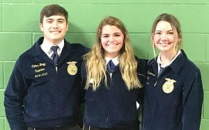 Senior Radio Broadcasting Team: (left to right) Cutter Blagg, Hannah Watts and Brooke Rasmussen COURTESY PHOTO