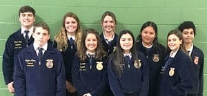 Area Contestants: (back row left to right) Cutter Blagg, Hannah Watts, Brooke Rasmussen, Brianna Garcia, Pete Rodriguez. (front row left to right) Brady Stevens, Katelyn Smith, Karis Alcoser and Julia McDonald. COURTESY PHOTO