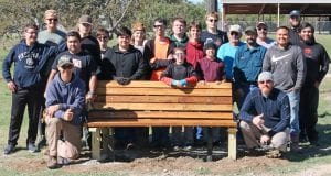 Pictured are, left to right: back row- Cade Macmanus, Eagle Scout, Scott Pew, Garrett Mills, Wesley Maspero, Nathaniel Goodman, Blaine Macmanus, Eagle Scout, Will Chancellor and Greg Leach, Parks and Recreation Director; middle row- Connor Below, Augustin De La Torre, Eagle Scout, Alberto De La Torre, William Chancellor, Clayton Newman, Cole Hannah, Paxton Henke, David Longley, Larry Pierce, Marcus Hernandez and Charles Reyna; front row, kneeling- Paul Macmanus, Scoutmaster and Brandon Below, Assistant Scoutmaster. Not pictured are Rhonda Chancellor, Seth Macmanus, Jairo Ortiz and Koal Schaub.