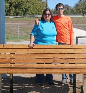 Joett Morrison is shown with William Chancellor and one of the benches. JOETT MORRISON   COURTESY PHOTOS