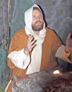 The public is encouraged to visit the Christmas Village this Friday-Sunday, Dec. 6-8 on the Poteet Strawberry Festival grounds. Pictured is Chris Trapani portraying Jesus during the 2018 presentation. COURTESY FILE PHOTO