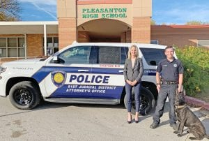 81st Judicial District Attorney Audrey Gossett Louis is pictured with District K9 Investigator Daniel Kaufman and K9 Officer Gerben. DISTRICT ATTORNEY'S OFFICE | COURTESY PHOTO