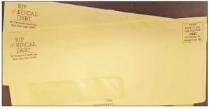 Do not throw this bright yellow envelope away! Treat it like a golden ticket from Cowboy Fellowship and RIP Medical Debt that pays off your medical debt.