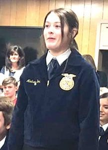 Madison Yow introducing herself at the JISD Board of Trustees meeting. COURTESY PHOTO