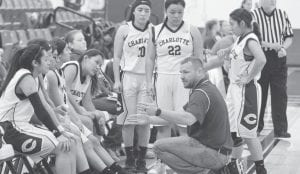Charlotte Head Coach Jason Brock coaches the Trojanettes during a timeout at the Tilden Classic in December. JOE DAVID CORDOVA | PLEASANTON EXPRESS
