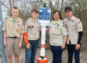 Boy scouts placing a Monofilament fishing line collection tube station placed at Choke Canyon State Park on Jan. 18. Pictured above left to right are Boy Scouts Tex Anderson, Koal Schaub, Joett Morrison, Asst. Scoutmaster and Eagle Coach and Boy Scout Zander Temple. JOETT MORRISON   COURTESY PHOTOS