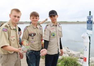 While placing one of the used fishing line collection stations at Choke Canyon State Park, three boy scouts from Troop 194 policed the area and found used fishing line that they were able to immediately dispose of into the collection station. Left to right are Tex Anderson, Koal Schaub, and Zander Temple.