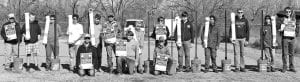 Eagle Scout candidate Koal Schaub from Boy Scout Troop 194 of Pleasanton and his group of sixteen volunteers made nine Monofilament fishing fine collection tube stations on Saturday, January 11th as part of his Eagle Scout Service Project. Pictured above back row left to right are David Longley, Tex Anderson, Connor Below, Jairo Ortiz, Zander Temple, Jason Schaub, Seth Macmanus, Garrett Mills, Justin Maspero, Wanish Tortes-McGinnis, Cade Macmanus, Wesley Maspero, and Blaine Macmanus. Front row kneeling left to right are Paul Macmanus, Scoutmaster, Eagle Scout candidate Koal Schaub and Cole Hannah. JOETT MORRISON   COURTESY PHOTO