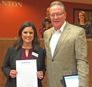 "Pleasanton Mayor Travis Hall presents a proclamation designating February as ""Teen Dating Violence Awareness Month,"" to Andrea Rathnell, Director of Education Outreach at Safer Path Family Violence Shelter. Partner violence in Texas is three times the national average. Only 33% ever tell anyone when experiencing abuse. It can be prevented, the mayor noted by raising awareness and training. CHRISTELLE TROELL