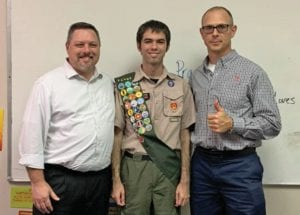 Pictured left to right are: Will Chancellor, Eagle Scout William Thomas Chancellor and Paul Macmanus, Scoutmaster. RICHARD MORRIS | COURTESY PHOTOS