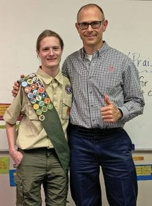 Shown left to right are Eagle Scout Wesley Ryan Maspero and Paul Pacmanus, Scoutmaster.