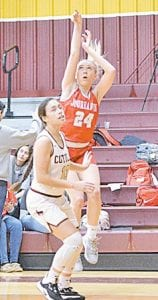 Senior Shyanne Bauerle (24) shoots a three-pointer for Jourdanton against Cotulla on Feb. 7. Bauerle finished the game with eight points. SAM FOWLER | PLEASANTON EXPRESS