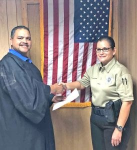 Deputy Constable Tillie Willborn, Pct. 3, was sworn into office on Monday, Feb. 3 by Justice of the Peace, Pct. 3, Orlando Carrasco. COURTESY PHOTO