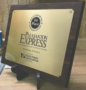 1st place taken at the 2018-2019 TPA Texas Better Newspaper Contest for Display Advertising, Division 6