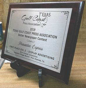 1st place taken at the 2019 TGCPA for Display Advertising, Division 2