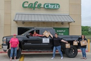 Cafe Chris owners, Mary Rodriguez and Erica Lopez and South Texas Natural Wellness, owner, DJ Swan and team member Brittany Bradberry have found innovative ways to keep their essential businesses alive and thriving during the COVID-19 crisis. Cafe Chris offers drive-through and delivery at 830-569-6551. STNW is open inside and practicing social distancing by encouraging online orders at www.sotxwellness.com. Call 830-480-5004 with questions. SAM FOWLER | PLEASANTON EXPRESS