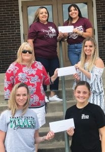 Pictured are local Project Graduation representatives holding their checks. Left to right are: top row- Poteet PG rep Michelle Fraire and senior Rachelle Casias; second row- Jourdanton PG rep Chandra Camp and senior Jordan Camp and bottom row- Pleasanton PG rep Sarah Callihan Lewis and senior Calli Jones. BECKY TYMRAK | COURTESY PHOTO