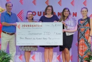 The JEF teacher grant recipients in fifth grade at Jourdanton Elementary are, left to right: Andrew Camp, Martha Huckleberry, Melissa Glasscock, Christie Escobar and Texana Woodward. Not pictured is Susan Pierce.
