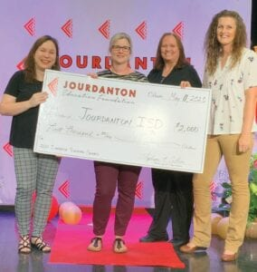 Grant recipients at Jourdanton High School are, left to right: Kimberly Glenn, Faith Andrus, Susan Ratliff and Marielle Sekula. Not pictured is Robert Chaney. They were among those receiving a grant from the Jourdanton Education Foundation.
