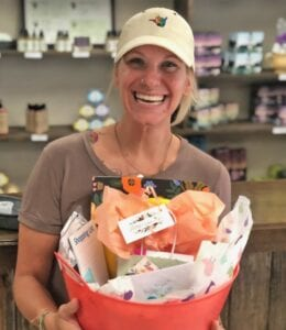 Lacie Harrington was a lucky scavenger finding this basket of goodies at South Texas Natural Wellness during the small business scavenger hunt last month. COURTESY PHOTO