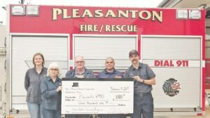 The Pleasanton Fire Department received a contribution of $1,000 from SMEC's 2019 Charitable Giving Program. Pictured, from left, are Faith Miller and Sharon Shearrer, SMEC; Chuck Garris, Mario Escobedo and Logan Valdez, Pleasanton VFD.