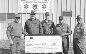Campbellton Volunteer Fire Department received a contribution of $1,000 from SMEC's 2019 Charitable Giving Program. Pictured, from left, are Slver Carnevale and James Lucas and Daylon Fowler, SMEC; Martin Llamas, Campbellton VFD; and Benny Ramirez, SMEC.