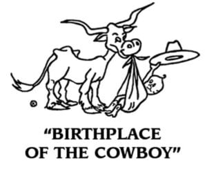 "Pleasanton's ""Birthplace of the Cowboy"" logo was designed by Thelma Cardwell-Cale."