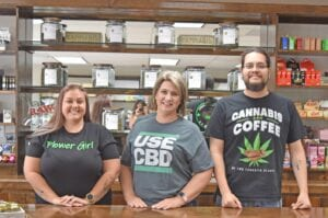 The team from South Texas Natural Wellness, from left, Brittany Bradberry, DJ Swan (owner) and Gabriel Caballero. EMILY MANN | PLEASANTON EXPRESS