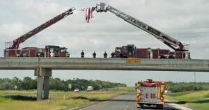 """The Bexar County Fire Marshal's Department arranged multiple units along IH-37 South to honor Atascosa County Emergency Management Coordinator David Prasikfa as various Atascosa County agencies escorted him back home on Monday afternoon. """"When one fire family hurts, they all hurt,"""" said Jeff Rankin, JVFD Captain. ERIC KAISER 