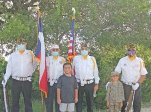 Poteet VFW Post 6970 Honor Guard led the parade on July 2 for Liam Lambardia's 8th birthday. Pictured, from left, back row, are Dan Malone (retired Navy), David Guerrero (retired Army), Roy Casarez (retired Marine Corps) and Ernest Soliz (retired Army). In the front are Liam and his brother Lukas. REBECCA PESQUEDA | PLEASANTON EXPRESS