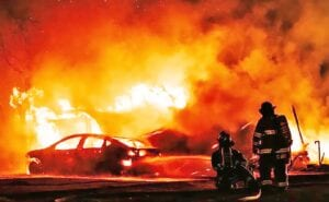 Poteet and Jourdanton VFD responded to a call at 1:30 a.m. Monday morning involving a fully engulfed vehicle and mobile home. Investigators believe the cause to be arson. J GARCIA | PLEASANTON EXPRESS