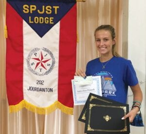 SPJST Lodge 202 member Katlyn Polasek received the SPJST District Merit Scholarship Award, the Miles Marek Scholarship and the Jourdanton Lodge 202 Scholarship. She also received the Presidential Volunteer Silver Award for community service. SANDRA HOGGARD | COURTESY PHOTO