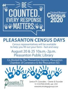 The City of Poteet will also have Census representatives available to help you fill out your 2020 Census form on July 29 and July 31 and August 5 from 1-4:30 p.m. all three days. They will be at the Poteet Public Library located at 126 S 5th St. in Poteet.