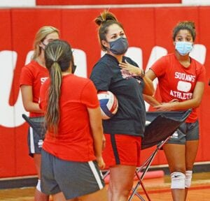 Jourdanton Head Coach Joella Gallegos talks to her team at their first practice of the 2020 season. The Squaws return a large group in 2020 after graduating just two from last year's district title defense. SAM FOWLER | PLEASANTON EXPRESS