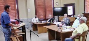 Michael Vickers addresses Commissioners Court during September 14 public hearing on the proposed 2021 Atascosa County budget and tax increase.