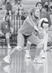 Emma Roach volleys an attack for Jourdanton in their match with Lytle on Tuesday, Sept. 8, to open play in District 27-3A. Roach had 25 digs on Saturday against Natalia. J GARCIA | PLEASANTON EXPRESS