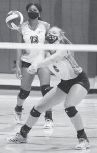 Sadie McAda digs out an attack for the Lady Eagles against Uvalde on Sept. 1. Her 31 kills and 26 digs helped the Lady Eagles beat Randolph on Tuesday, Sept. 8. SAM FOWLER   PLEASANTON EXPRESS