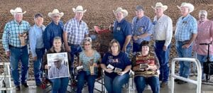 To put on a good team roping you need a great group of directors. SCTICA directors standing left to right: Jim Marsh, Weldon Riggs, Gus Gonzalez, Dr. Glen Tate, Brad Cotton (ICA State President and member of SCTICA chapter), Ronnie Moore, Dickie Jackson, Doug Muenchow, Paul Riggs. Seated left to right: Laurie Miller (SCTICA president and widow of Windy Miller), Susan Gonzalez, Paula Riggs (SCTICA Secretary), Brenda Moore (SCTICA Treasurer). COURTESY PHOTO