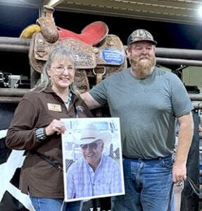 High Point Winner, Billy Ray Williams, receiving his saddle from Laurie Miller, SCTICA President and widow of Windy Miller. Billy Ray gave President Miller the saddle after all awards were shared. Yes, there were tears shed. COURTESY PHOTO