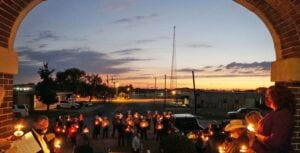 Candles were lit to shine a light on Domestic Violence in Atascosa County and to celebrate the survivors and honor the victims of domestic violence. Speakers at the Safer Path vigil included Rhonda Williamson, Andrea Rathmell, District Attorney Audrey Lewis, Atascosa County Sheriff David Soward, Pleasanton Mayor Travis Hall, Poteet Mayor Willie Leal, Pleasanton Police Chief Ronald Sanchez and Jourdanton Police Chief Eric Kaiser. NOEL WILKERSON HOLMES   PLEASANTON EXPRESS
