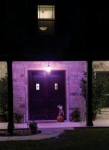 Chris Schimelpfening has had this light on their front porch since they built their house in 2017. It is to honor the battle his wife Jessica Rankin- Schimelpfening had with breast cancer. Look for more photos in the Pleasanton Express throughout October. COURTESY PHOTO