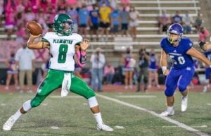 Sean Ramos loads up to pass during Pleasanton's 45-20 loss at Boerne on Friday. Ramos had 119 yards passing and one touchdown. J GARCIA | PLEASANTON EXPRESS