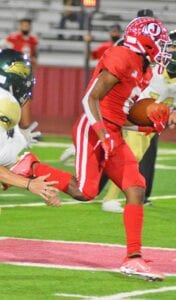 Jarel Lilly sprints past Cole defenders in Jourdanton's 51-0 rout on homecoming. Lilly had six catches for 117 yards and three touchdowns. His performance in the first half of the game helped him become the first Jourdanton receiver ever to surpass the 3,000-yard mark. JOE DAVIDE CORDOVA | PLEASANTON EXPRESS